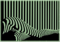 Leaf Designs Green & Black Illusion Table Placemat (Pack Of 6)