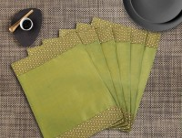 Dekor World Rectangular Pack Of 6 Table Placemat Green, Polyester