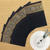 Dekor World Zari Floral Brocket Pack Of 6 Table Placemat Black, Polyester