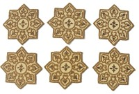 Eco Haat Round Pack Of 6 Table Placemat Gold, Plastic, Glass