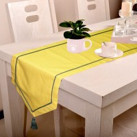 Lushomes Yellow 180 Cm Table Runner Cotton
