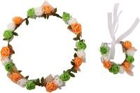 Sanjog Crown & Tiara (Green, White, Orange, Pack Of 2)