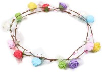 Takspin Floral Net With Leaf Tiara (Multicolor, Pack Of 2)