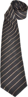 Pinellii Pure Silk Tie Black/Gold Designed In Italy Striped Men's Tie
