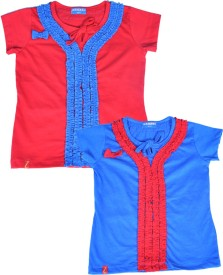 Clever Casual Short Sleeve Solid Girl's Multicolor Top