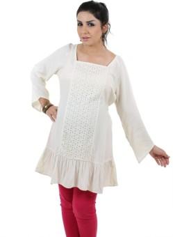 Kriti Western Maternity Party Full Sleeve Self Design Women's Top
