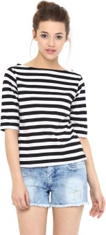 Miss Chase Casual Short Sleeve Striped Women's Black Top