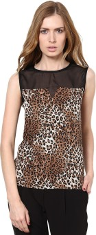 GOLDEN COUTURE Casual, Festive, Formal, Lounge Wear, Party Sleeveless Animal Print Women's Top