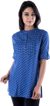 Peppermint Casual Roll-up Sleeve Polka Print Women's Top