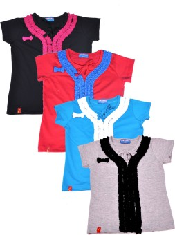 Clever Casual Short Sleeve Solid Baby Girl's Multicolor Top - TOPEJFF2RZUZ777A