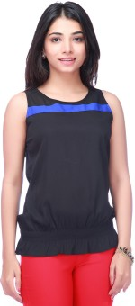 Eliza Donatein Casual Sleeveless Woven, Solid Women's Top Casual Sleeveless Woven, Solid Women's Top