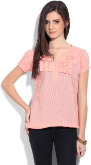 Style Quotient By Noi Casual Short Sleeve Striped Women's Top