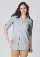 FREECULTR Casual Roll-up Sleeve Striped Women's Top