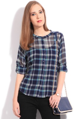 Allen Solly Casual Rollup Sleeve Checkered Women Top