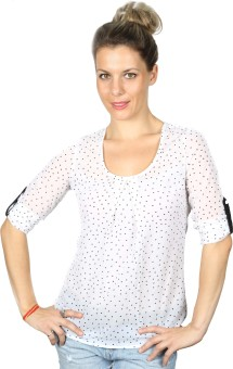 Iracc Casual Roll-up Sleeve Polka Print Women's Top