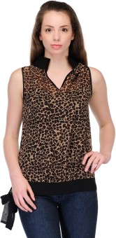 Just Wow Casual Sleeveless Animal Print Women's Top