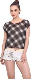 H.O.G Casual Cape Sleeve Checkered Women's Black Top
