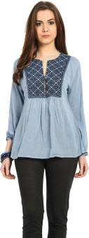 Global Colours Casual Full Sleeve Embroidered Women's Top