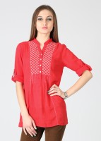 Latin Quarters Casual Roll-up Sleeve Printed Women's Top