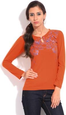 Duke Duke Casual Full Sleeve Printed Women's Top (Orange)