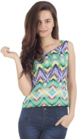 Veakupia Casual Sleeveless Printed Women's Multicolor Top