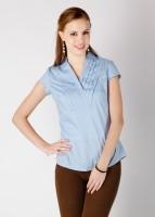Park Avenue Formal Short Sleeve Solid Women's Top