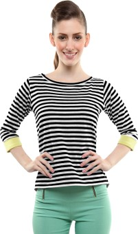 Miss Chase Casual 3/4 Sleeve Striped Women's Top