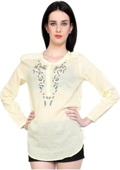 I Am For You Casual Full Sleeve Striped Women's Top
