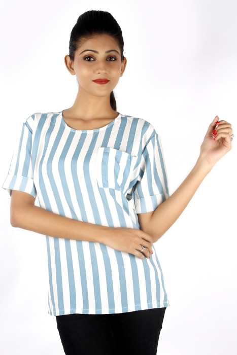 Zolake Casual Half Sleeve Striped Women's Top
