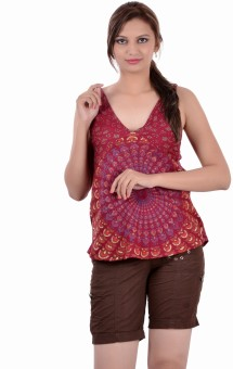 Indi Bargain Casual, Festive, Formal, Party Sleeveless Printed Women's Top