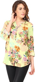 Orange Plum Casual Roll-up Sleeve Floral Print Women's Top