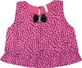 Hunny Bunny Casual Sleeveless Polka Print Girl's Pink Top