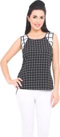 Sweet Lemon Casual Sleeveless Checkered Women's Top