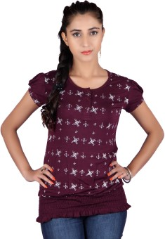 Raves Casual, Sports, Party Short Sleeve Floral Print Women's Top
