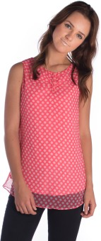 Miss Rich Casual Sleeveless Polka Print Women's Top