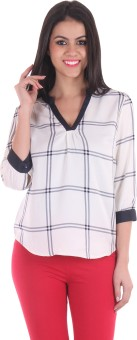 Ss Casual 3/4 Sleeve Striped Women's White Top