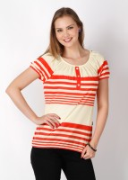 109F Casual Short Sleeve Striped Women's Top