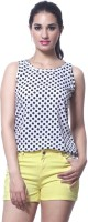 Faballey Casual Sleeveless Polka Print Women's Top