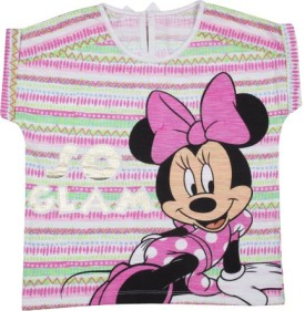 Mickey And Friends Casual Short Sleeve Printed Girl's White Top - TOPEFYB6FJYKPHV9