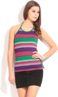 Style Quotient By Noi Casual Sleeveless Striped Women's Top