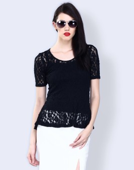 Faballey Formal Short Sleeve Solid Women Top