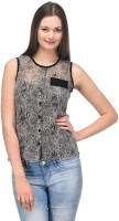 Stilestreet Casual Sleeveless Animal Print Women's Top