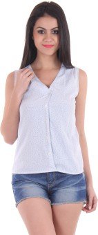 SS Casual Sleeveless Printed Women's Light Blue Top