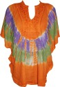 Indiatrendzs Casual Kimono Sleeve Embroidered Women's Orange Top