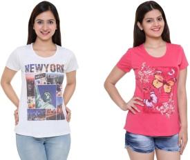 IN Love Graphic Print Women's Round Neck Grey, Pink T-Shirt Pack Of 2
