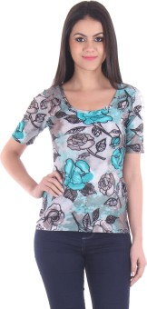 SS Casual Short Sleeve Floral Print Women's Green Top