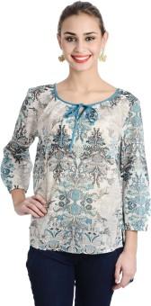 Keona Casual 3/4 Sleeve Printed, Self Design Women's Top