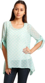 Nun Casual Roll-up Sleeve Geometric Print Women's Top