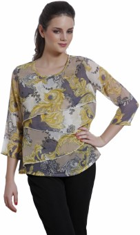Meiro Party, Casual Full Sleeve Floral Print Women's Top
