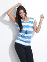 Wrangler Casual Short Sleeve Striped Women's Top